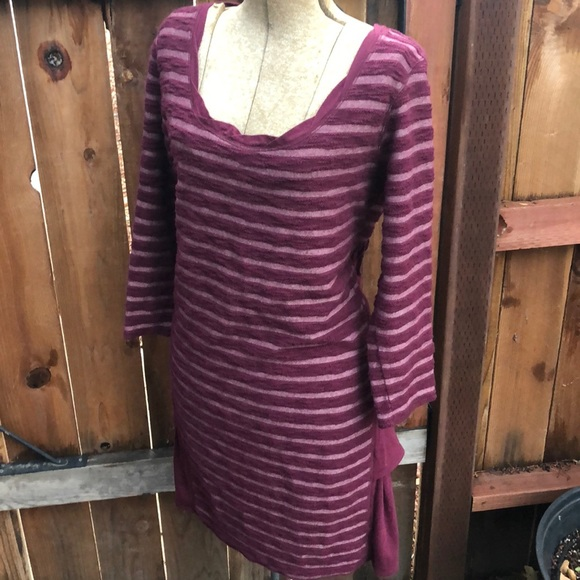 Anthropologie Dresses & Skirts - Anthropologie dress L ruffles maroon
